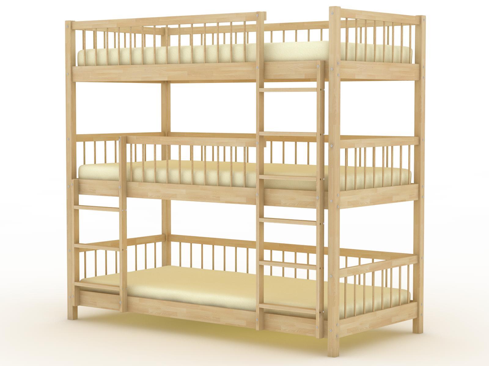 Идеальным вариантом решения этой задачи является трехъярусная кровать, разнообразные модели которой изготавливают современные производители мебели.